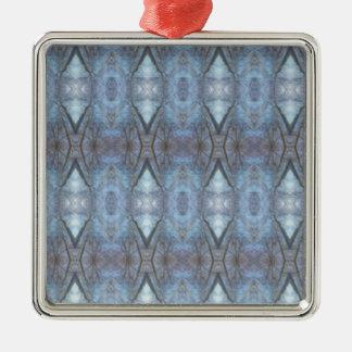 Ornement Carré Argenté Motif croisé géométrique bleu noir de diamants