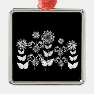 Ornement Carré Argenté motif de fleur 5