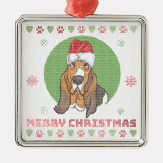 Ornement Carré Argenté Motif de Knit de Joyeux Noël de Basset Hound