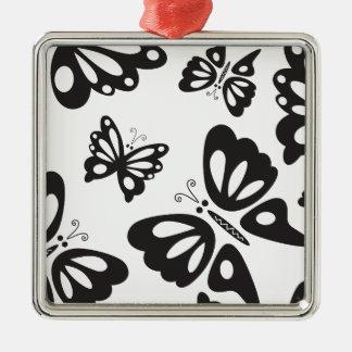 Ornement Carré Argenté Motif de papillon - noir et blanc