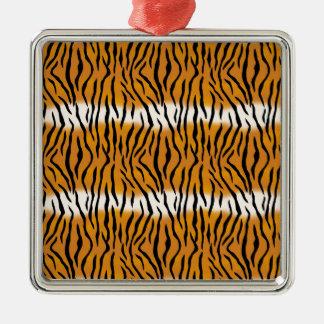 Ornement Carré Argenté Motif de tigre
