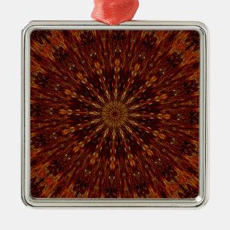 Ornement Carré Argenté Motif floral foncé de Brown de conception de