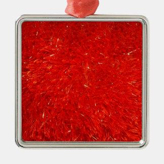 Ornement Carré Argenté Motif lumineux chic de fête de couleur rouge