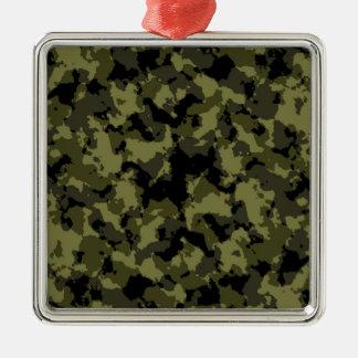 Ornement Carré Argenté Motif militaire de style de camouflage