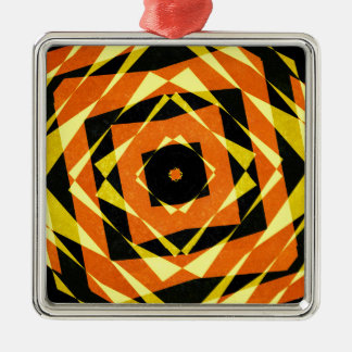 Ornement Carré Argenté Motif rayé orange et jaune de diamant