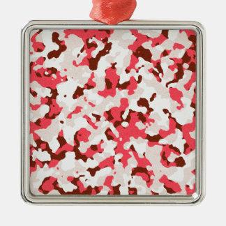 Ornement Carré Argenté Motif rouge de camouflage