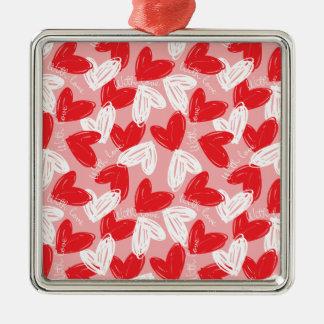 Ornement Carré Argenté Motif rouge et blanc moderne mignon de coeurs