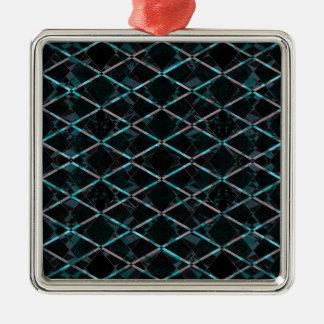 Ornement Carré Argenté Motif texturisé bleu de diamant