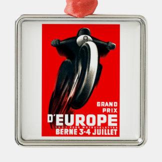 Ornement Carré Argenté Moto de Grand prix de 1939 Européens emballant