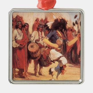 Ornement Carré Argenté Natifs américains vintages, danse de Buffalo par