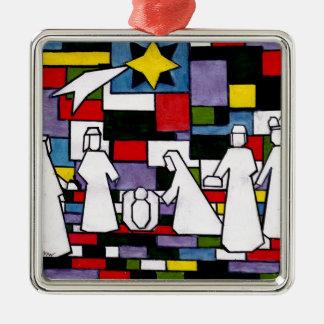 Ornement Carré Argenté Nativité de Mondrian - de Stijl - Neoplasticism