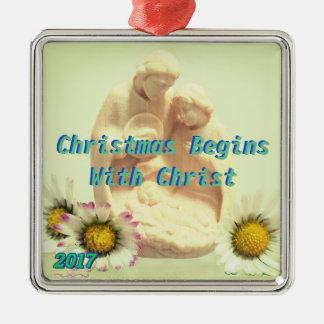 Ornement Carré Argenté Noël commence par l'ornement du Christ
