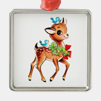 Ornement Carré Argenté Noël de cerfs communs de bébé