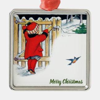 Ornement Carré Argenté Noël - petite fille en rouge