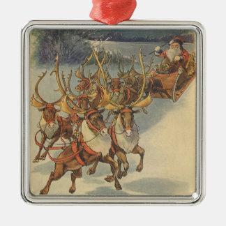 Ornement Carré Argenté Noël vintage le père noël Sleigh avec le renne