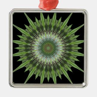 Ornement Carré Argenté Noir de vert de conception de kaléidoscope