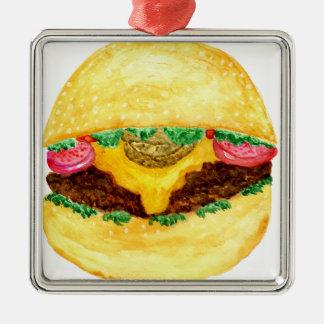 Ornement Carré Argenté Nourriture 2 d'hamburger