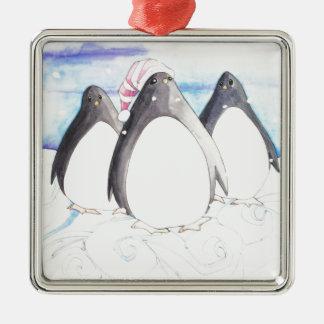 Ornement Carré Argenté Nous trois pingouins