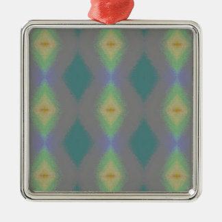 Ornement Carré Argenté Nuances de motif en forme de diamant vert de