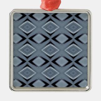 Ornement Carré Argenté Nuances de motif géométrique moderne gris