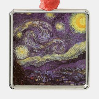 Ornement Carré Argenté Nuit étoilée par Vincent van Gogh, beaux-arts