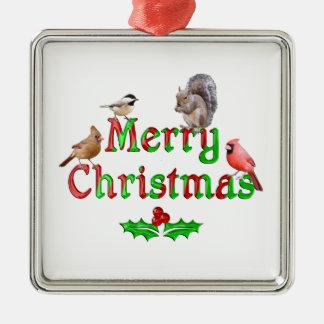 Ornement Carré Argenté Oiseaux et écureuil de Joyeux Noël