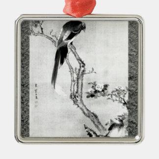 Ornement Carré Argenté Oiseaux et fleurs - période d'Edo de Japonais