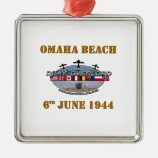 Ornement Carré Argenté Omaha Beach 6th June 1944