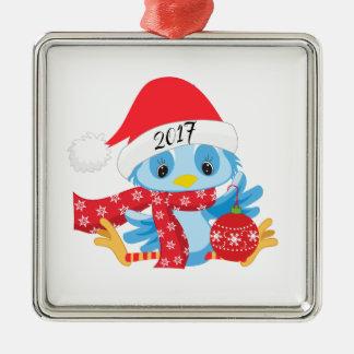 Ornement Carré Argenté Ornamament bleu d'oiseau de Noël
