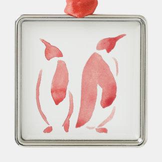 Ornement Carré Argenté Paires rouges de pingouin