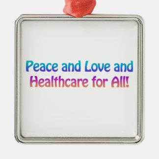 Ornement Carré Argenté Paix et amour et soins de santé pour tous