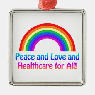 Ornement Carré Argenté Paix et amour et soins de santé pour tout
