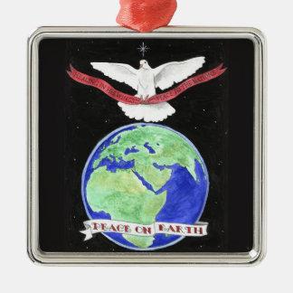 Ornement Carré Argenté Paix sur l'ornement de Noël de la terre