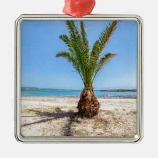 Ornement Carré Argenté Palmier tropical sur la plage sablonneuse