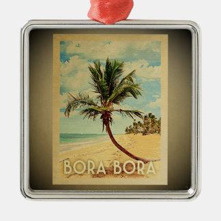 Ornement Carré Argenté Palmier vintage d'ornement de voyage de Bora Bora