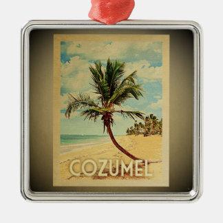 Ornement Carré Argenté Palmier vintage d'ornement de voyage de Cozumel