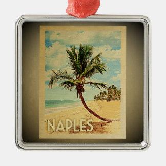 Ornement Carré Argenté Palmier vintage d'ornement de voyage de Naples
