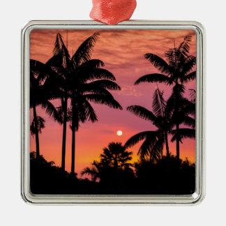 Ornement Carré Argenté Palmiers silhouettés, Hawaï