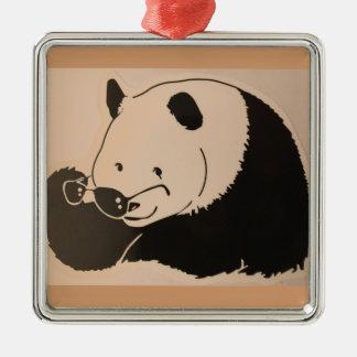 Ornement Carré Argenté Panda frais avec des nuances