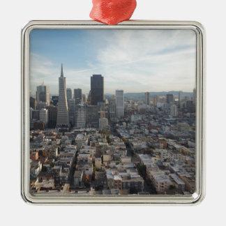 Ornement Carré Argenté Panorama d'horizon de San Francisco