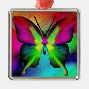 Ornement Carré Argenté Papillon