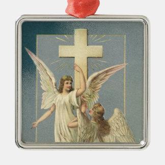 Ornement Carré Argenté Pâques vintage, anges victoriens avec une croix