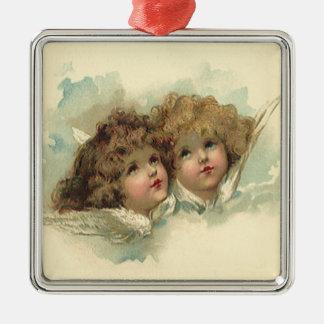 Ornement Carré Argenté Pâques vintage, nuages angéliques d'anges dans le