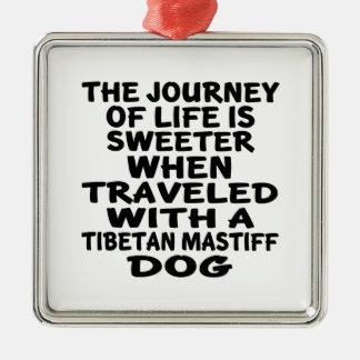 Ornement Carré Argenté Parcouru avec un associé tibétain de MastiffLife
