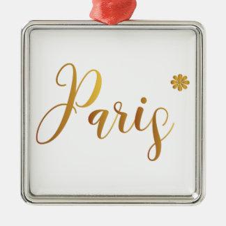 Ornement Carré Argenté Paris-dans-Or-avec-Fleur
