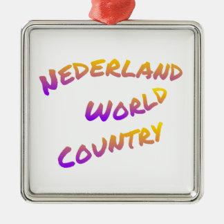 Ornement Carré Argenté Pays du monde de Nederland, art coloré des textes