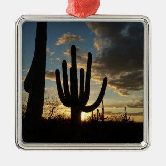 Ornement Carré Argenté Paysage de désert du coucher du soleil II Arizona