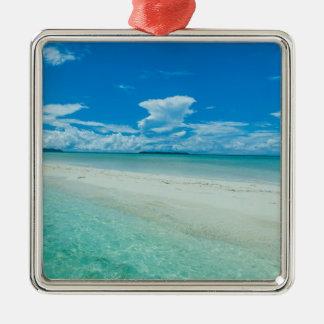 Ornement Carré Argenté Paysage marin tropical bleu, Palaos