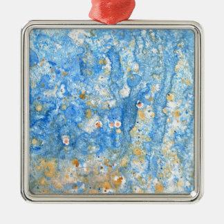 Ornement Carré Argenté Peinture bleue abstraite