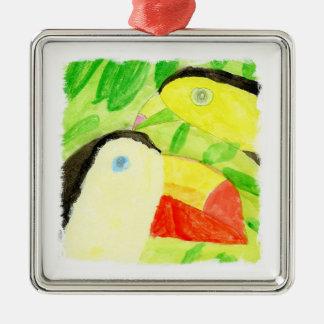 Ornement Carré Argenté Peinture d'aquarelle avec des couples d'oiseau de